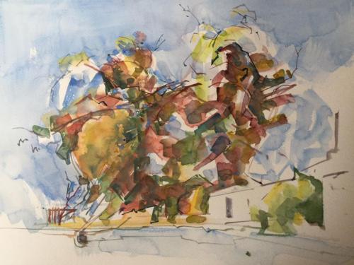 Twee dromende bomen (40×30)cm aquarel