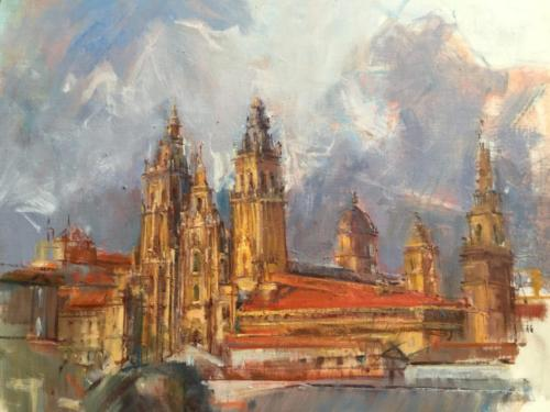 Santiago de Compostela (50×40)cm olieverf