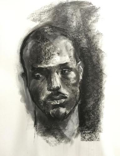 Afrikaanse man, Waardenburg (70x50)cm houtskool