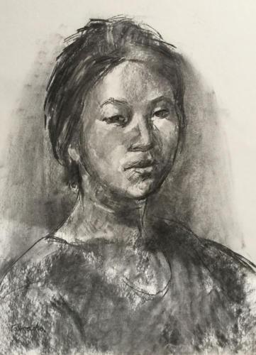 Aziatische jonge vrouw (70x50)cm houtskool
