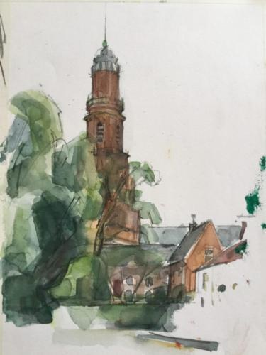 Toren van Pasqualini in IJsselstein, ±(32×23)cm aquarel