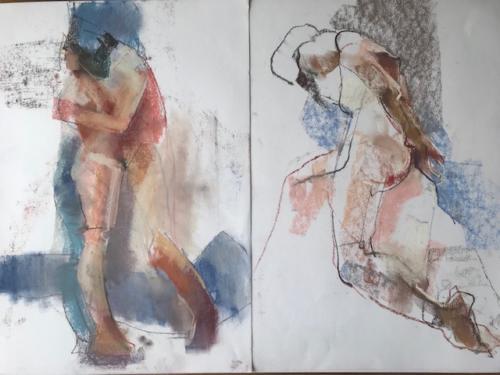 Samen / junto, alleen / solo, pastel, (50x35)cm