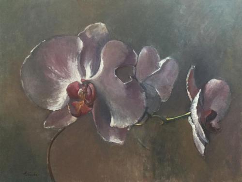 De betoverende bloem (80x55)cm olieverf
