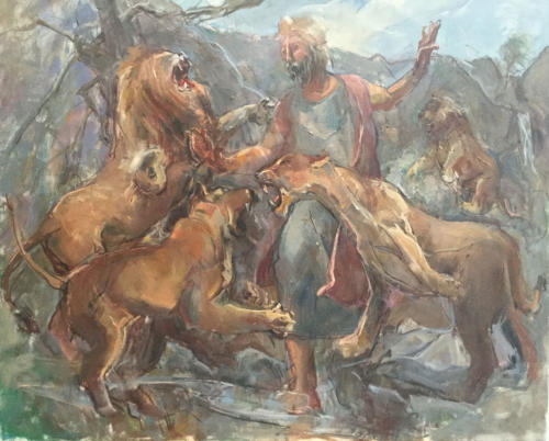 Daniel en la fosa de los leones  (50x40)cm  olieverf