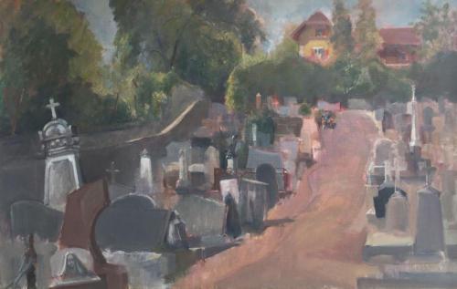 Ferney-Voltaire kerkhof ±(57×50)cm olieverf.