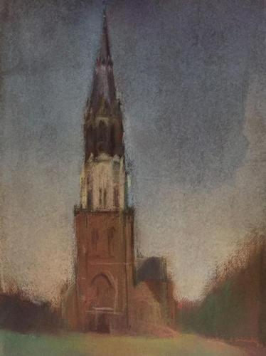Toren van Delft, ±(65×45)cm pastel