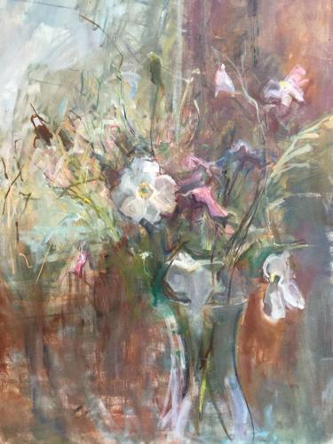 Bloemen uit de tuin (70x55)cm olieverf