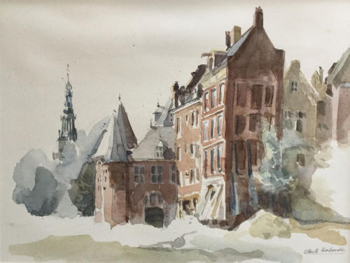 Amsterdam, Waag ±(40×30)cm aquarel
