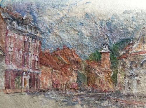Straat naar de grote markt in Braşov, (45×32)cm aquarel