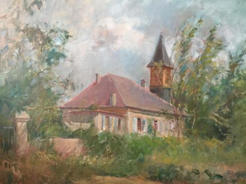 Iglesia entre Suiza y Francia ± (60×50)cm olieverf