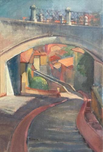 Naar het Aquaduct, Peruggia, Italië ±(40×30)cm olieverf