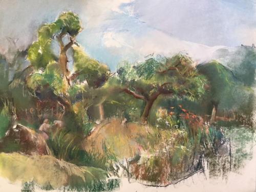 Tuin van Joke en Albert (70×50)cm pastel