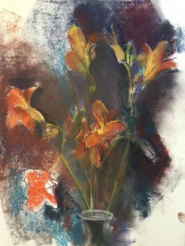 Bloemen bij Joke en Albert (70x50cm pastel