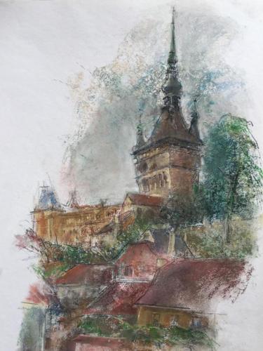 Roemeens stadje tussen Braşov en Boekarest(70×50)cm pastel