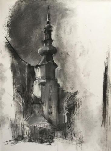 Toren in Ljubljana, ±(70×50)cm houtskool