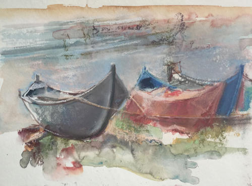 Omgeving Mangalia, Roemenië  ± (40x30)cm aquarel