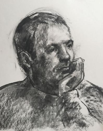Sergio in Kasteel Waardenburg (70x50)cm houtskool