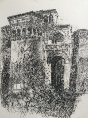 Puerta Etrusca Perugia (70×50)cm houtskool
