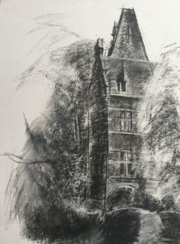 Belgische Toren (70×50)cm houtskool