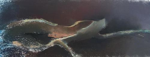 Onbewerkte tak (56x27)cm pastel