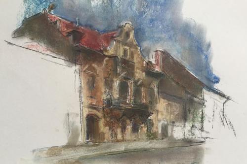 Straat in Braşov, Roemenië, ±(32×23) aquarel/pastel