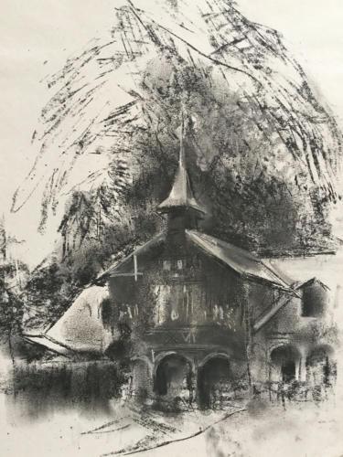 Kerk tussen Boekarest en Brasov ± (50×35)cm houtskool