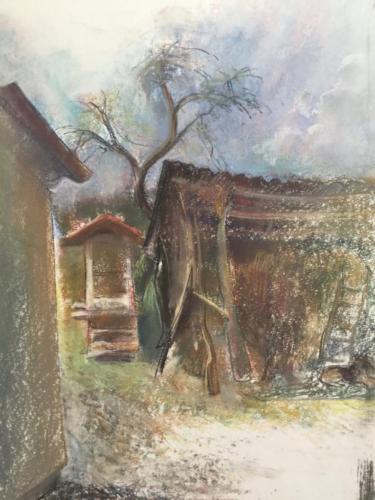 El Hórreo de la casa del abuelo Taboada, Brates en Galicia ± (70×50)cm pastel
