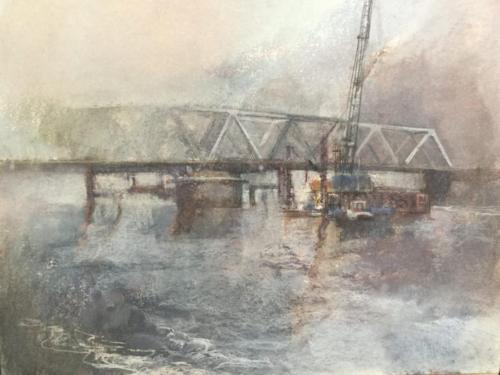 Zeeuwsch Vlaanderen, draaibrug, ±(70×50)cm pastel