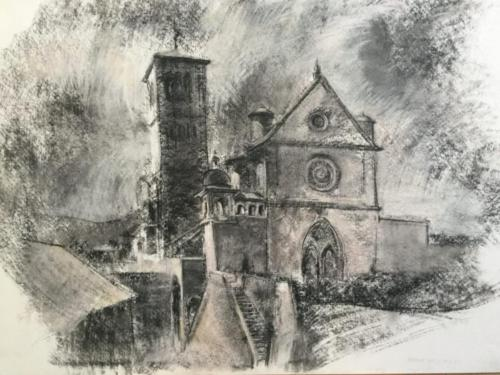 La Basillica di San Francesco d'Assisi (70×50)cm houtskool