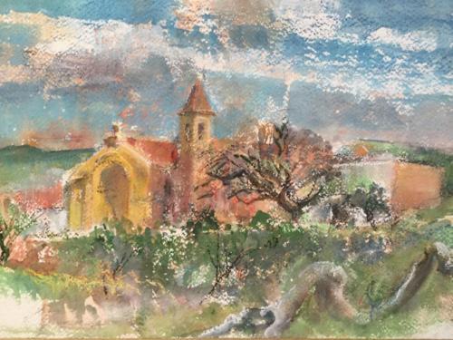 Iglesia de Ischilín, Córdoba Argentina b.b. (45×30)cm aquarel/pastel