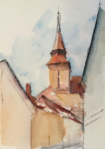 Braşov, Roemenië, zicht op toren vanuit een steeg, ±(40×30)cm aquarel
