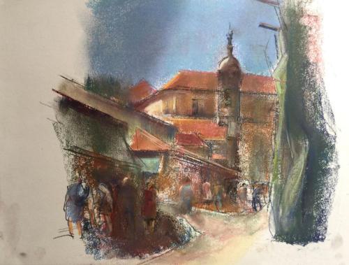 Mercado de Santiago de Compostela (47×27)cm pastel