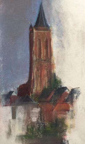 Toren van Gorinchem (38×23)cm pastel