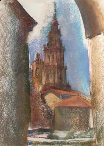 Zijaanzicht kathedraal van Santiago de Compostela, (70×50)cm pastel