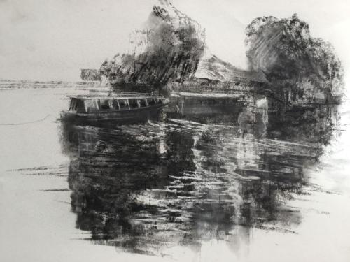 Passagiersboot, Tigre (70x50)cm  houtskool