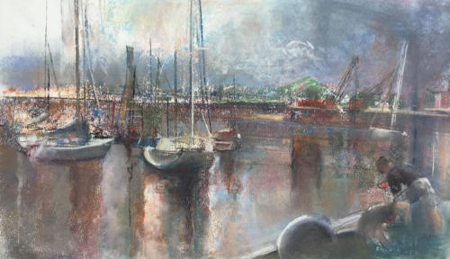 Recordando en el puerto de Olivos ±(50x25)cm pastel