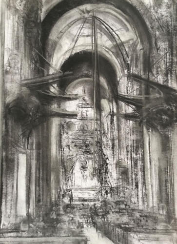 Catedral Santiago de Compostela (70×50)cm houtskool
