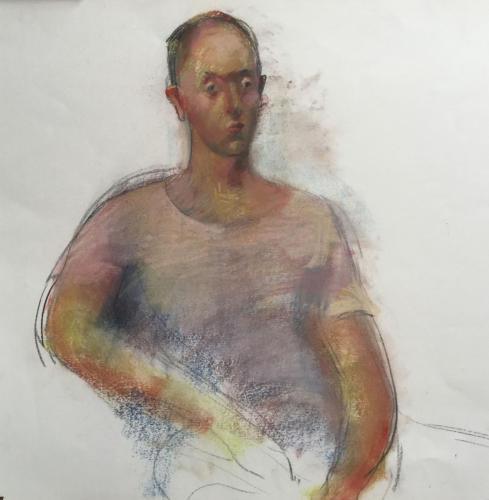 Model bij Vera te Amsterdam (65x55)cm pastel