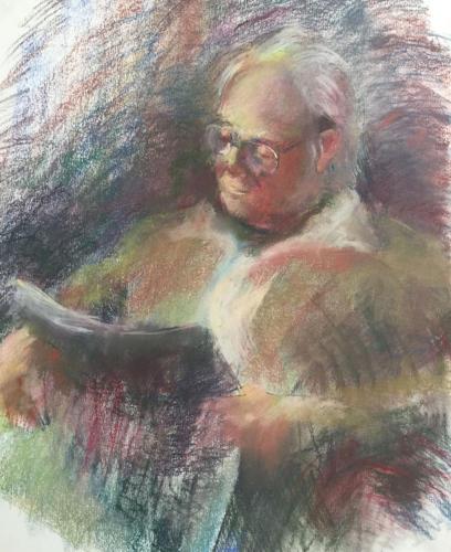 Lezende man,  (100x70)cm pastel
