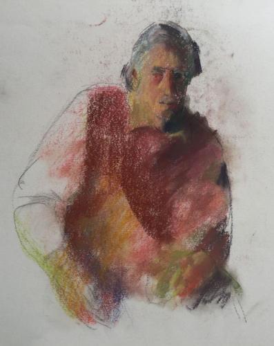 Man bij Vera te Amsterdam (70x50)cm pastel