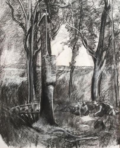 Las raíces del Laberinto. (70×50)cm houtskool
