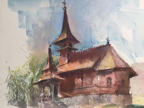 Houten Roemeens kerkje ± (40×39)cm pastel/aquarel