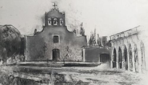 Espadaña en Cachi, Salta, Argentina ± (50×35)cm houtskool