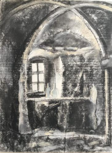 Faust Kamer, Waardenburg (79×50)cm houtskool