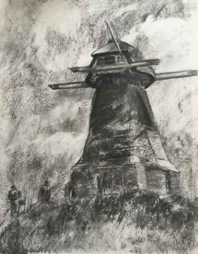 Studie, molen van Waardenburg (70×50)cm houtskool