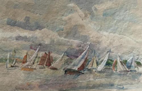 Aankomst in Gorinchem   (29x19)cm aquarel