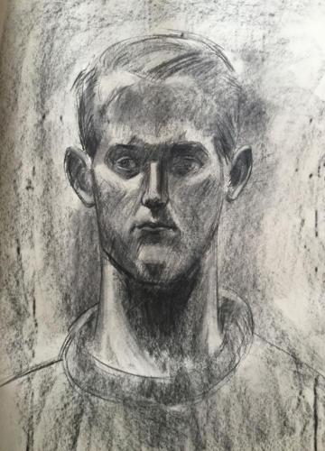 Jonge man, KABK, (100x70)cm houtskool