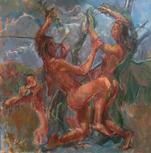 Apolo en Daphne   (50x50)cm olieverf
