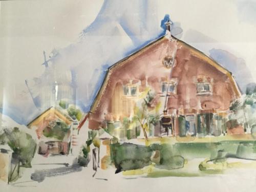 Huis van Wim en Ton in Hellouw (47,5×32)cm aquarel