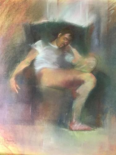 Robert in de voorkamer (61×53)cm pastel